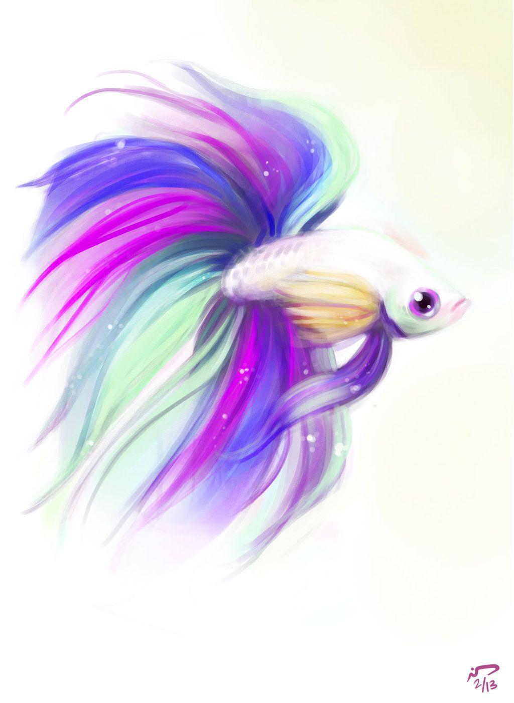 Celestial Betta By Majoh On Deviantart Fish Drawings Watercolor Fish Fish Art