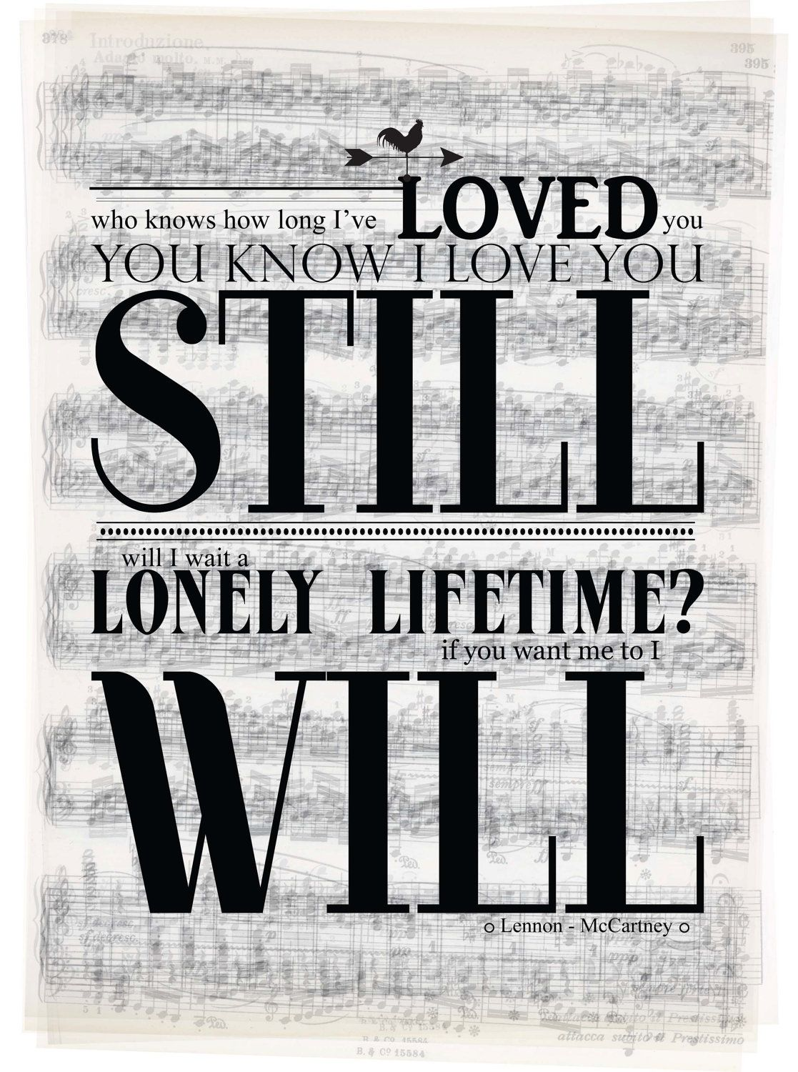 I Will The Beatles Typography Poster Lyrics Love A3 By Typeplace