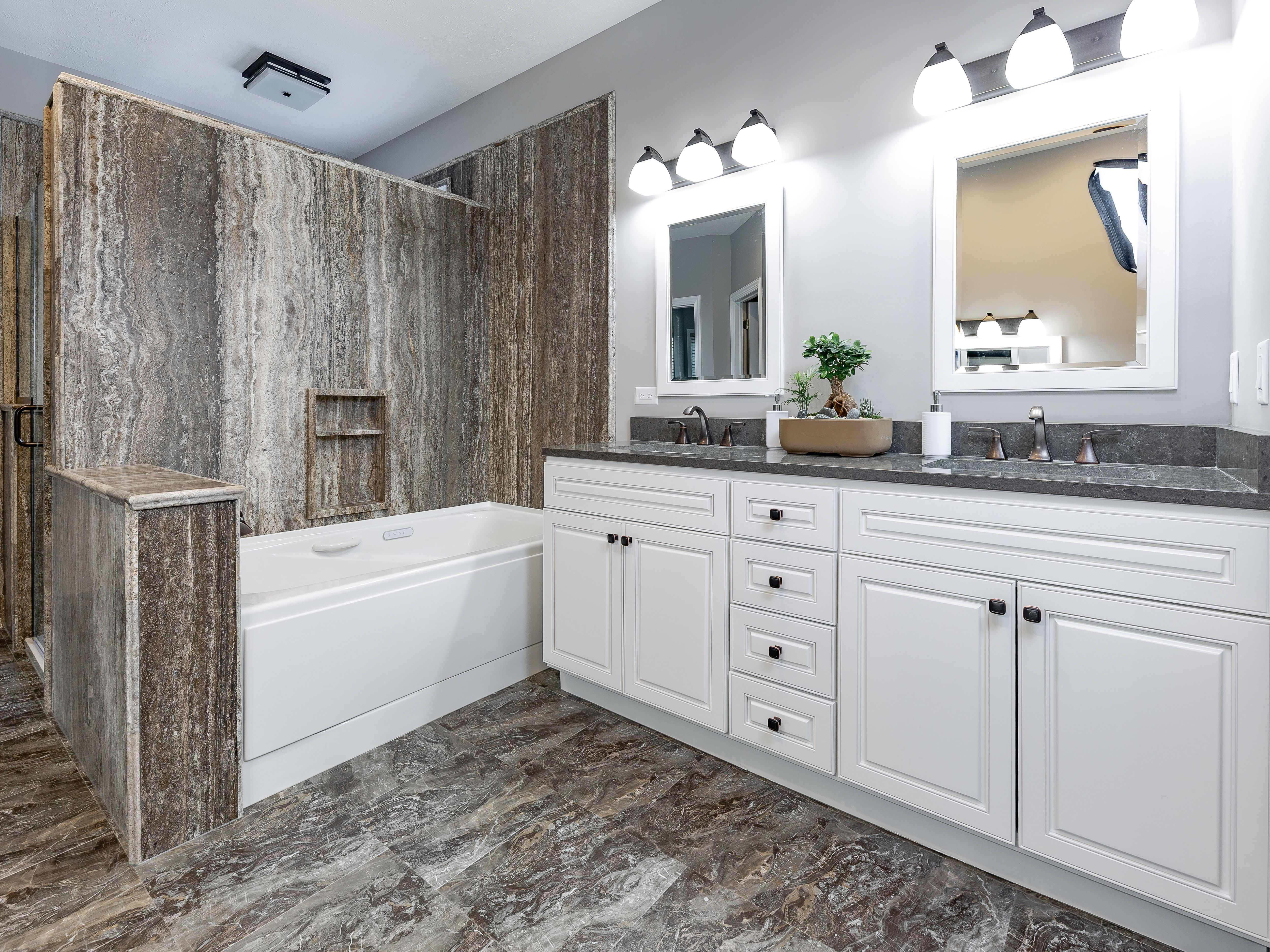 This Omaha Re Bath Bathroom Features Natural Stone Slab Silver