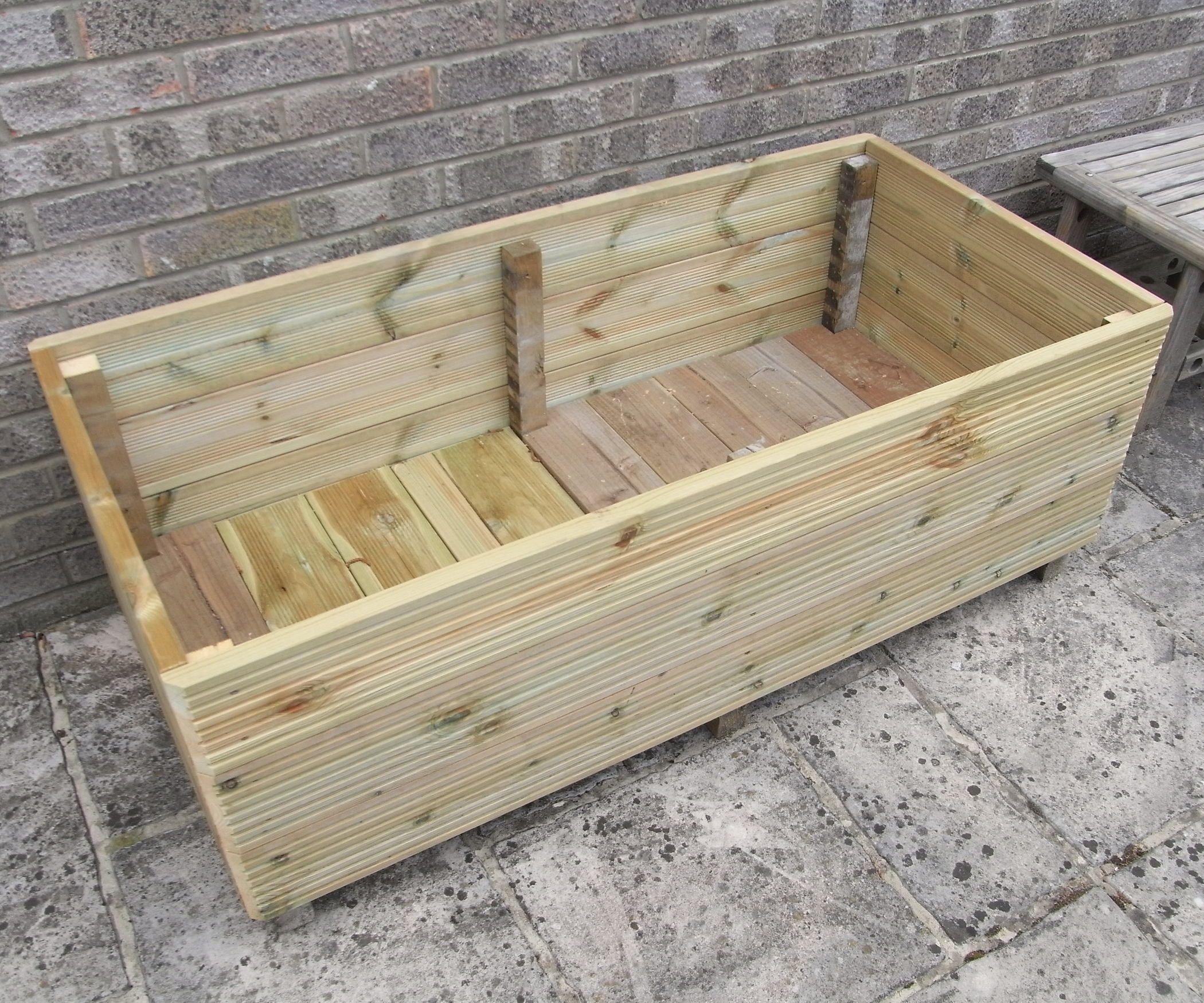 Large 1 Metre Wooden Garden Planter Box Trough Herb: Make A Garden Planter From Decking
