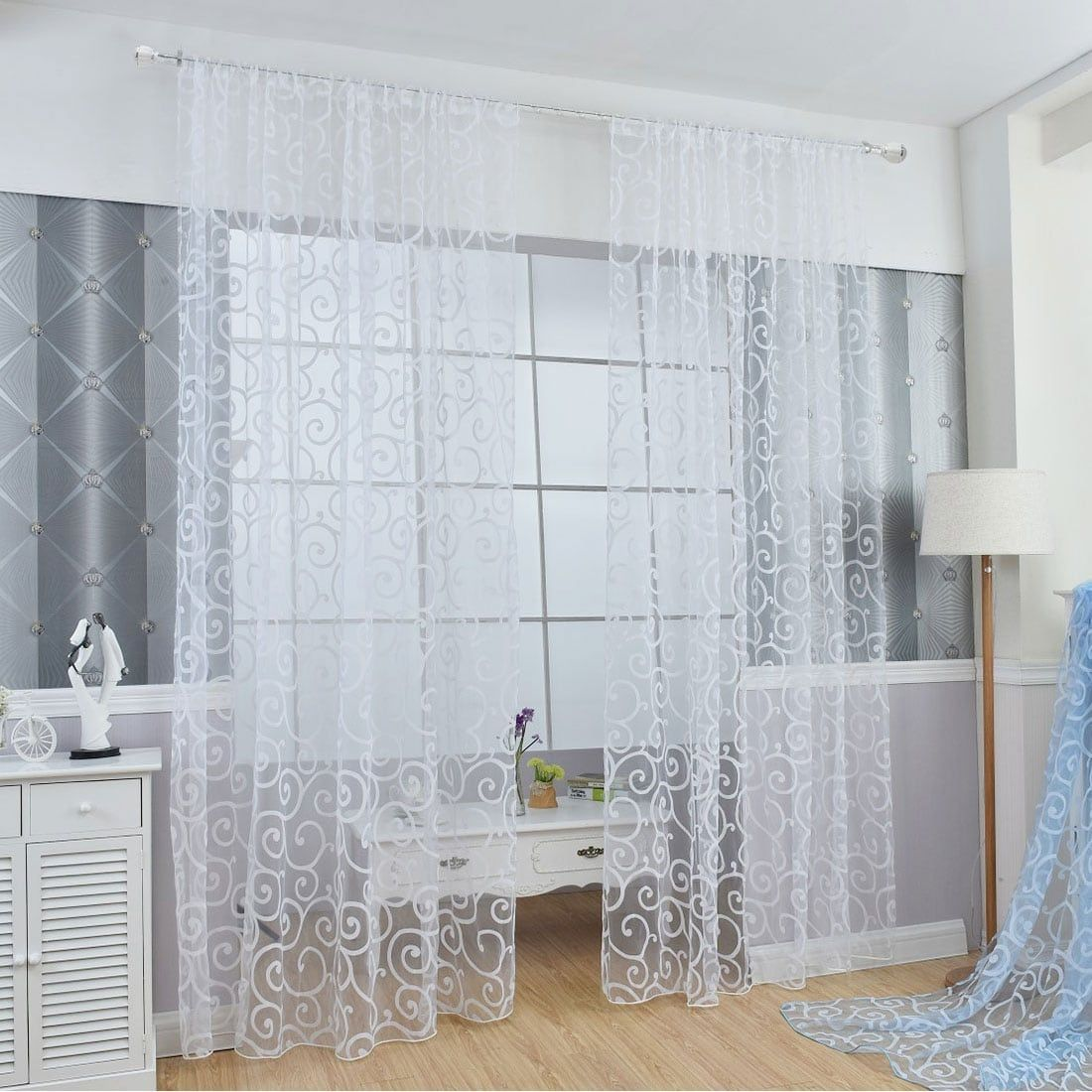 Floral tulle sheer voile curtains solid drape door room window