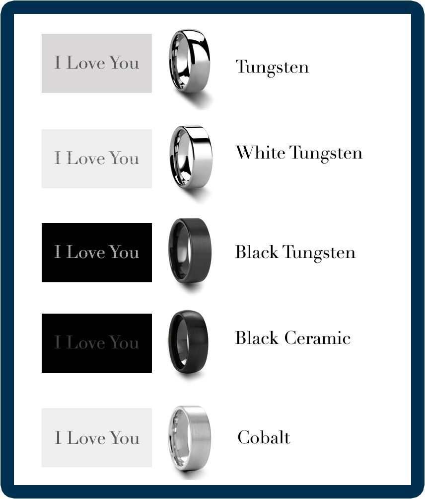 Tungsten Rings And Alternative Metals Engraving Color Comparison Guide Palladium Wedding Band Tungsten Ring Tungsten Wedding Bands