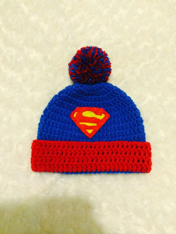 c2536f7e8a0 Superman Crochet Beanie Hat with Trim and Pompom Photo Prop for Newborn-  Adult Size on Etsy