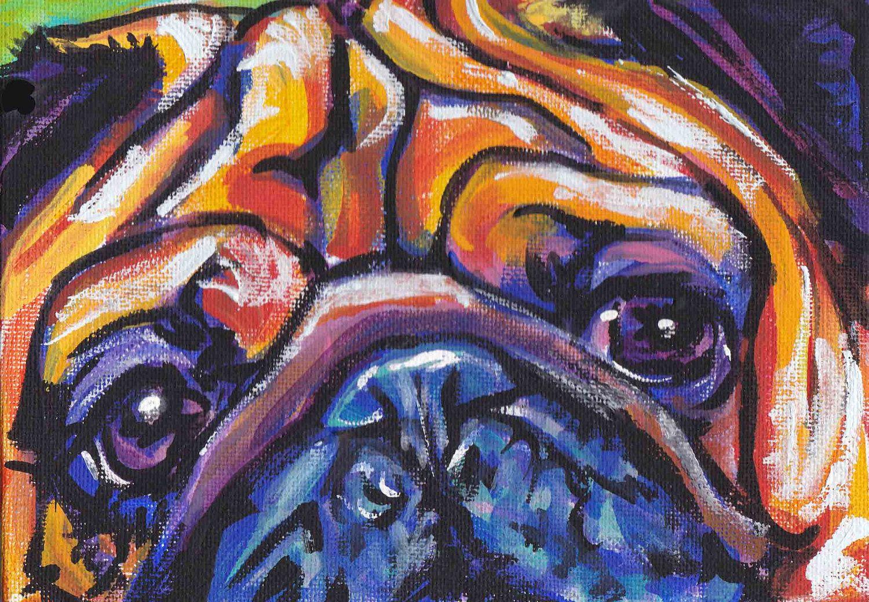pug art print pop dog art print bright colors by BentNotBroken