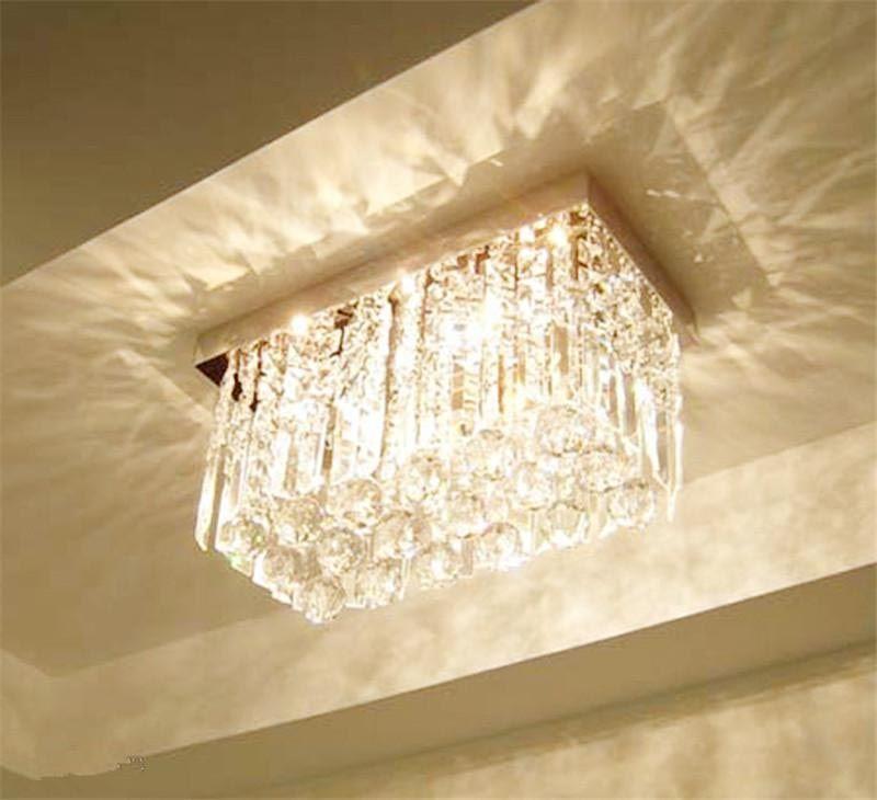 Contemporary Rectangular Crystal Chandelier Crystal Ceiling Lamps Glass Ceiling Lights Ceiling Lights
