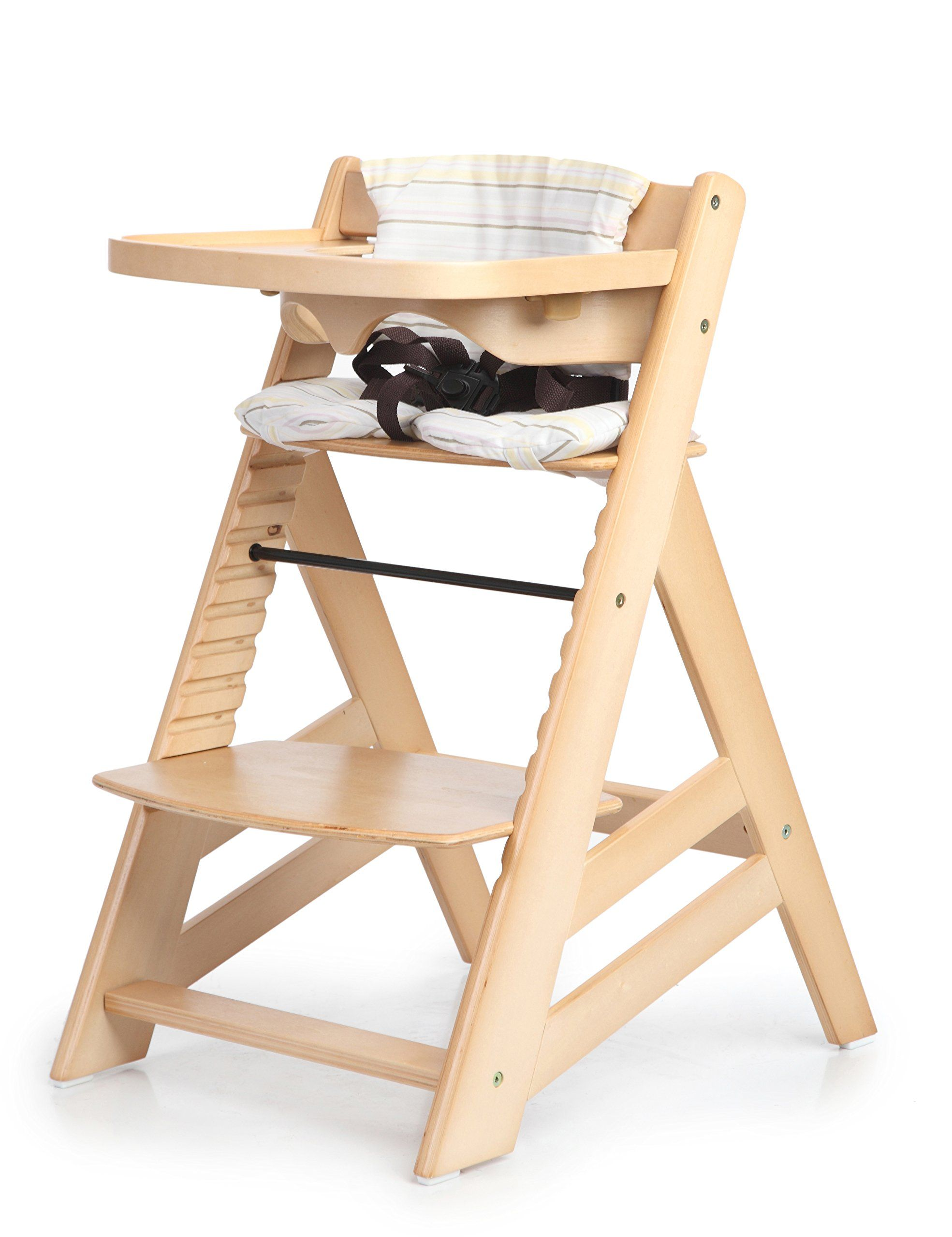 sepnine height adjustable wooden highchair baby high chair with padded cushion natural