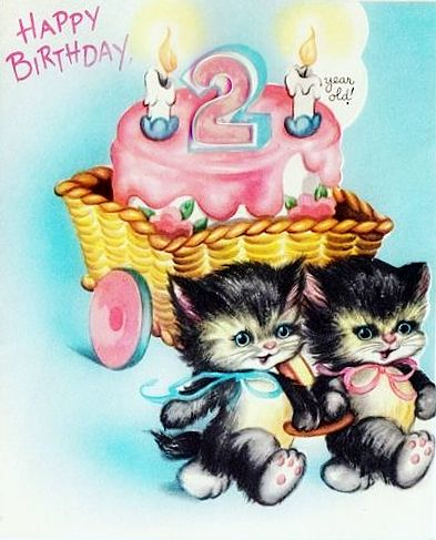 100 Years Of Birthdays Cakes And Cats Vintage Birthday Cards