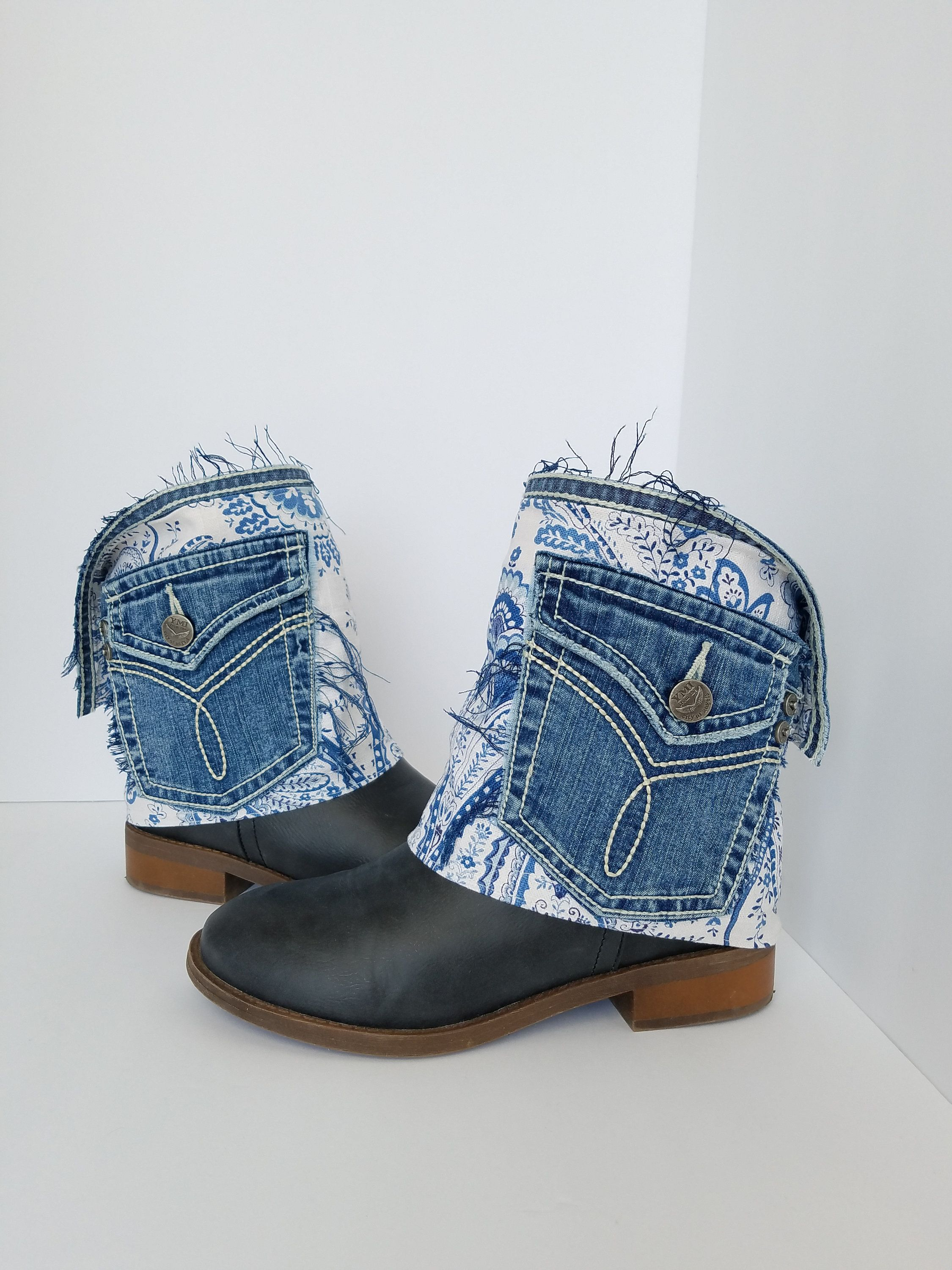 Distressed Denim Boot Covers Blue White Spats Frayed
