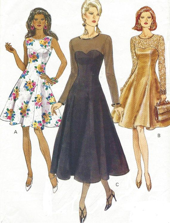 90s Vogue Sewing Pattern 8544 Womens Cocktail Dress Size 12 14 Cocktail Dress Patterns Evening Dress Patterns Vogue Dress Patterns