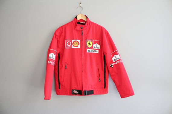 Rare Ferrari Team Car Racer Jacket Red Ferrari Jacket Quilted Etsy Red Jacket Jackets Vintage Outfits