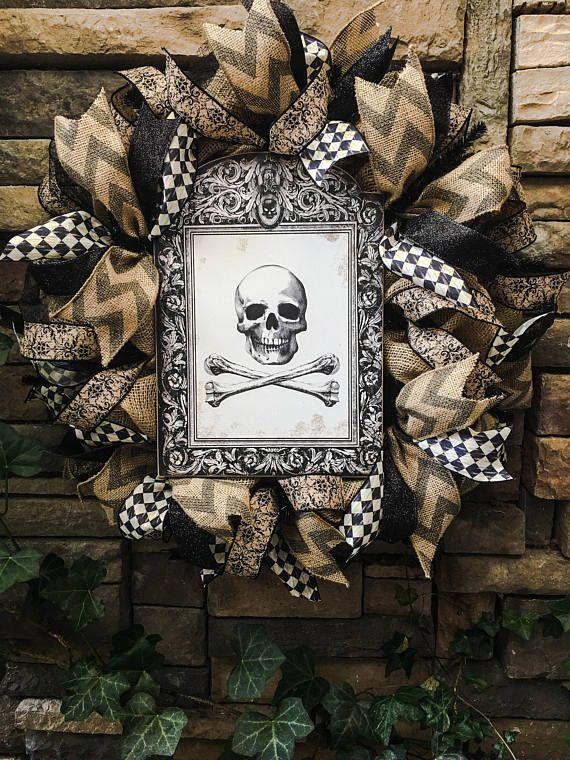 Halloween Wreath, Skull Wreath, Burlap Wreath, Skeleton Wreath - halloween decorations vintage