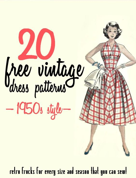 20 Free 1950s Style Dress Patterns (Va-Voom Vintage) | Kleidung ...