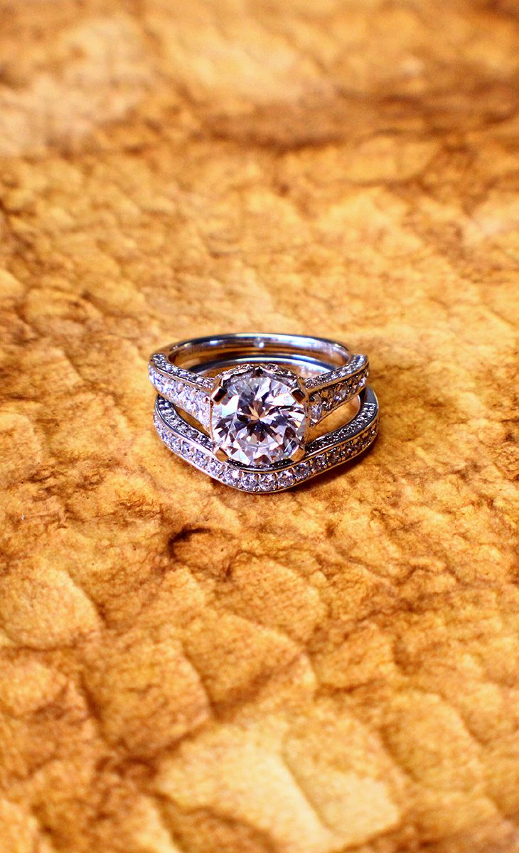 A wedding band of white gold and a matching engagement ring from Gabriel & Co. Yes please!