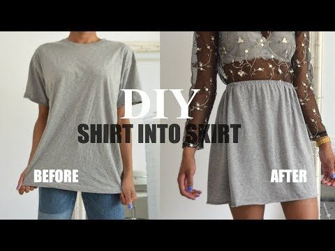 Diy Clothing Hack How To Transform A T Shirt Into A Skirt Youtube Diy Skirt Diy Clothes Hacks Diy Clothes