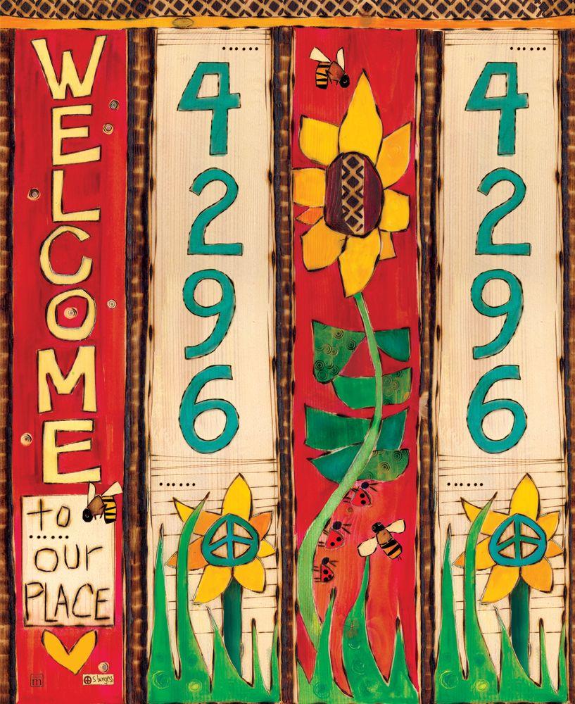 2 Sunflower Custom Address Art Pole Peace Poles Garden