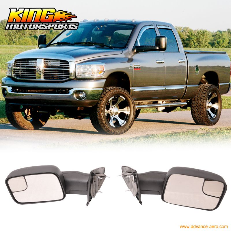 Fit For 02 08 Dodge Ram 1500 02 09 Ram 2500 3500 Side View Towing Mirrors Manual Pair Dodge Ram 1500 Ram 1500 Towing Mirrors