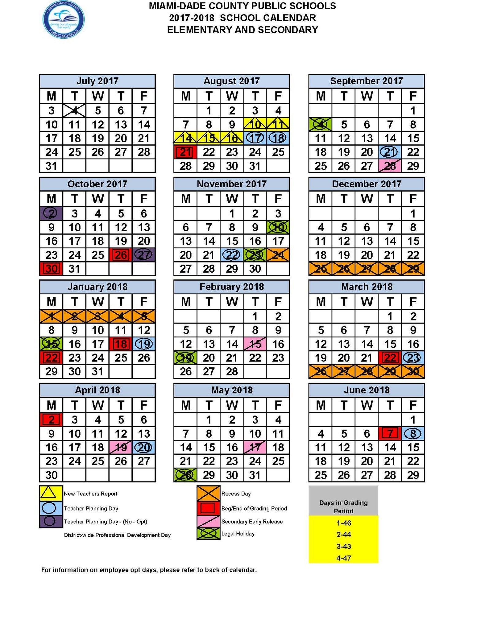 Miami Dade Schools Calendar 2018 2019 School Calendar Miami