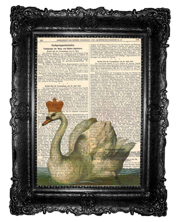 Swan King-  Mixed Media  Art Print  page book on Etsy, $8.97