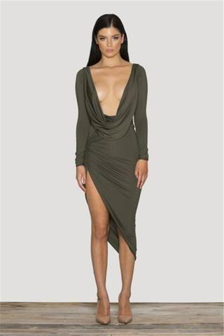V Neck Plunge Long Sleeve Dress Long Sleeve Plunge Dress Women Bodycon Dress Fashion Dresses
