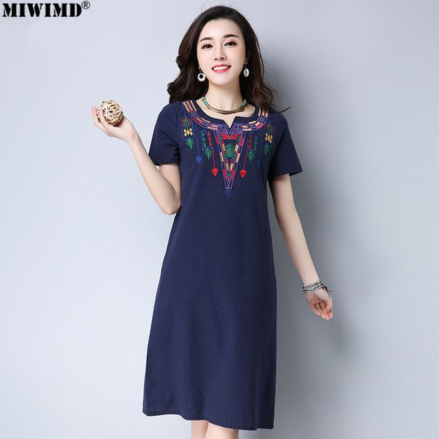 f4c5d19c8b30 MIWIMD Women Summer Dresses 2018 New Fashion Casual Loose Embroidered  V-neck Short Sleeve Vintage Cotton Linen Dress Big Size Dresses MIWIMD ...