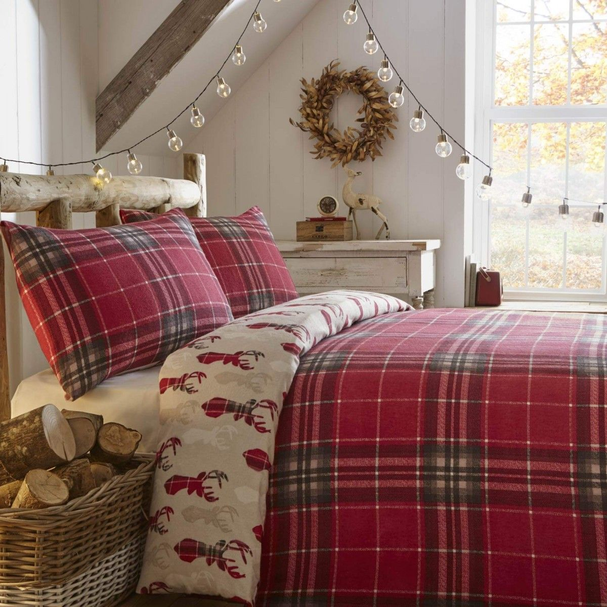 Fusion Tartan Stag Brushed Cotton Duvet Cover Set Red Christmas Bedding