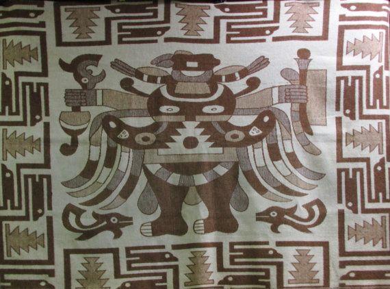 Inca Aztec Alpaca Wool Blanket Vintage Mid Century