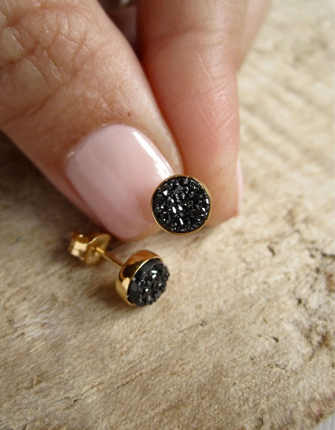 Druzy Earrings, Druzy Earrings Studs, Black Druzy, Gold