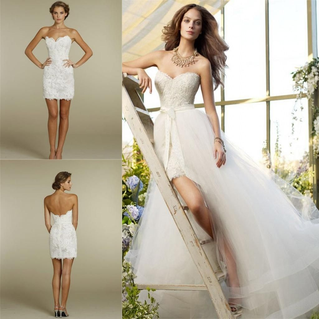 e9a22fbab2 Wedding Dresses with Detachable Skirt Sweetheart Neck Zipper ...
