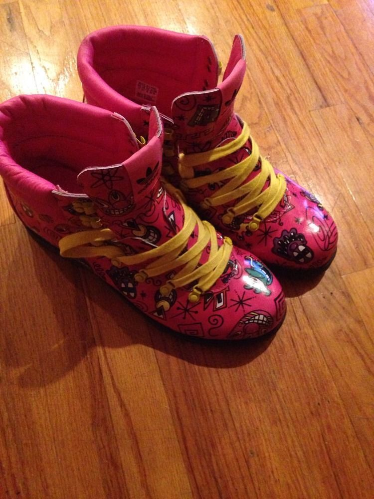 Adidas Jeremy Scott Kenny Scharf Face Pink Hiking Boots Shoes Sz 13 HTF! NWOB #adidas #FashionSneakers
