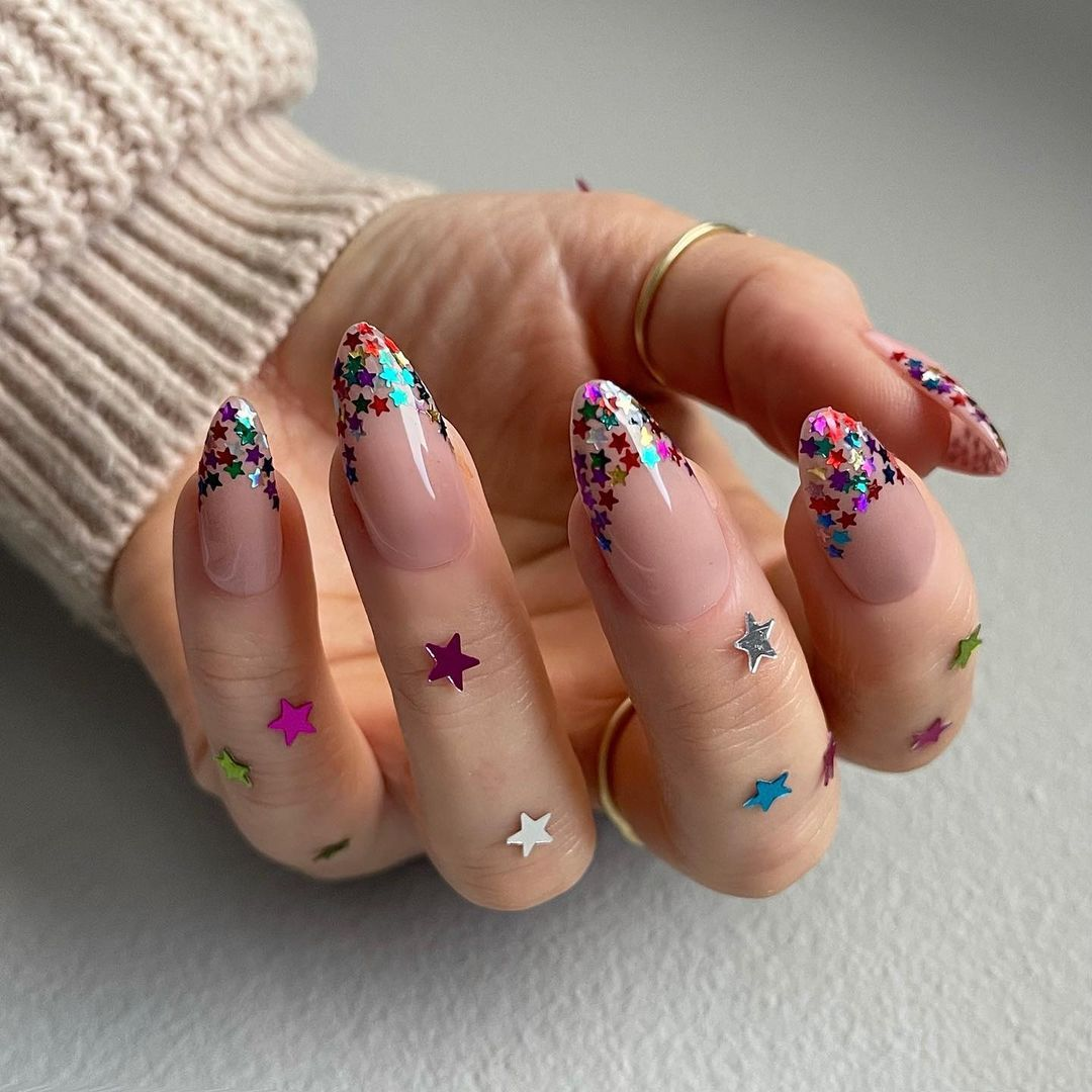 Amy Rickaby On Instagram Take Me Straight To 2021 Created With The Gelbottle Inc Biab Teddy Cl Star Nail Designs Confetti Nails Beauty Nails Design
