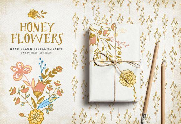 Honey Flowers by Bloomart on @creativemarket