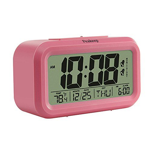 Peakeep Digital Alarm Clock With 2 Alarms For Weekdays Manual Snooze And Light Battery Operated Only Pink See This Grea Alarm Clock Clock Digital Alarm Clock