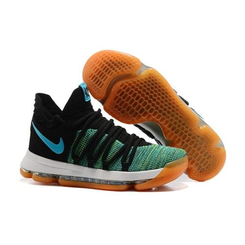 Shop Nike kevin durant kd 10 basketball shoes black green