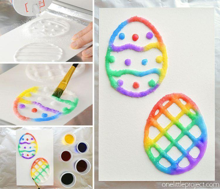 Salt Painted Easter Eggs Diy Easter Cards Easter Crafts Easter