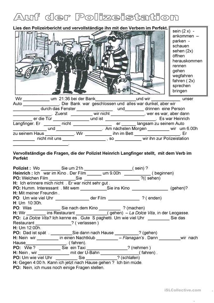 Kriminalität - Auf der Polizeistation   SCHOOL - German   Pinterest ...