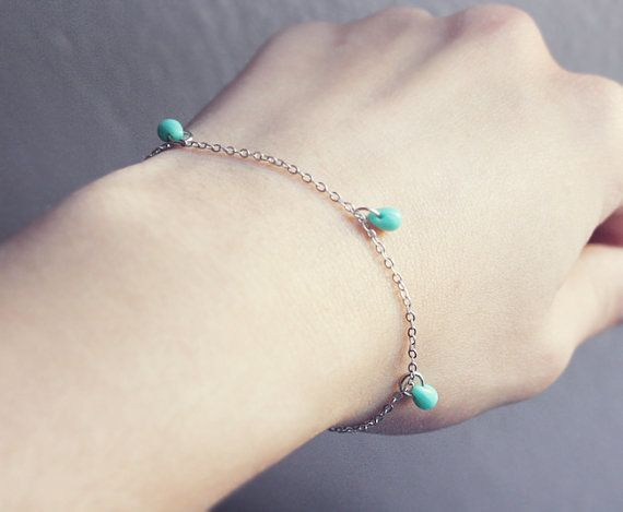 tiny mint drops  minimalist bracelet