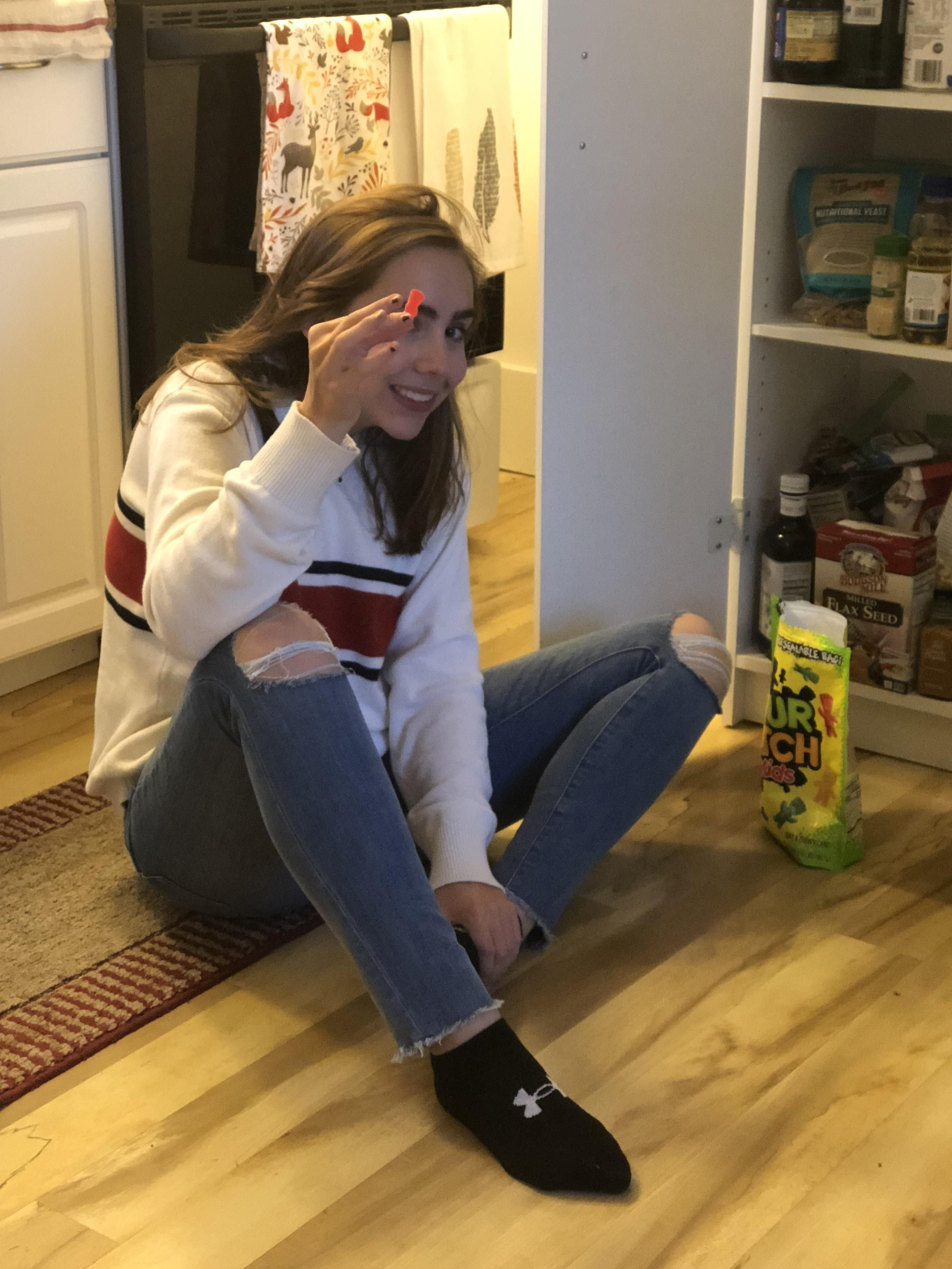 My Vegan Roommate Eating Sour Patch Kids Out Of A 2 Pound Bag Of Them On The Floor Of Our Apartment