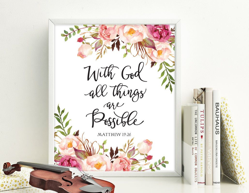 With God All Things Are Possible Matthew 19 26 Bible Verse Etsy In 2021 Bible Posters Scripture Print Bible Verse Prints
