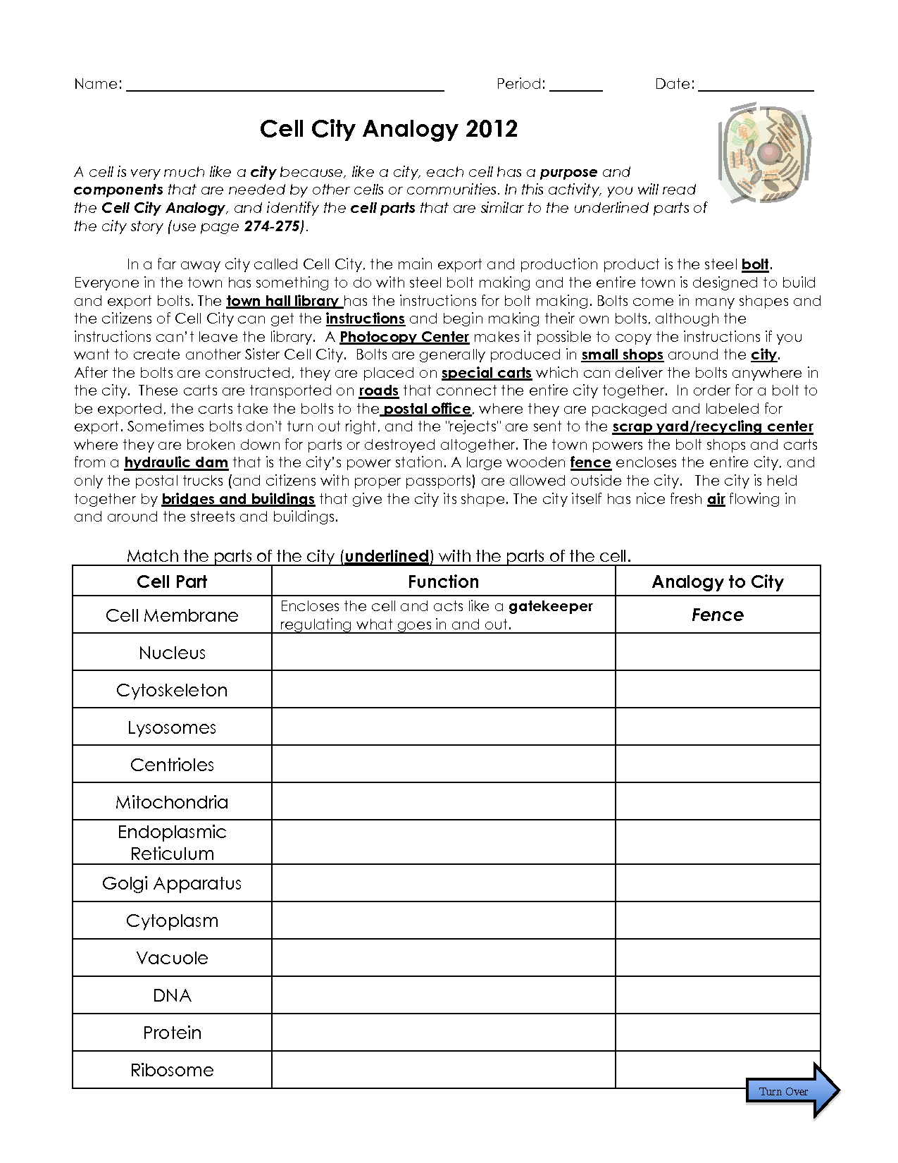 Cell Cityogy Worksheet