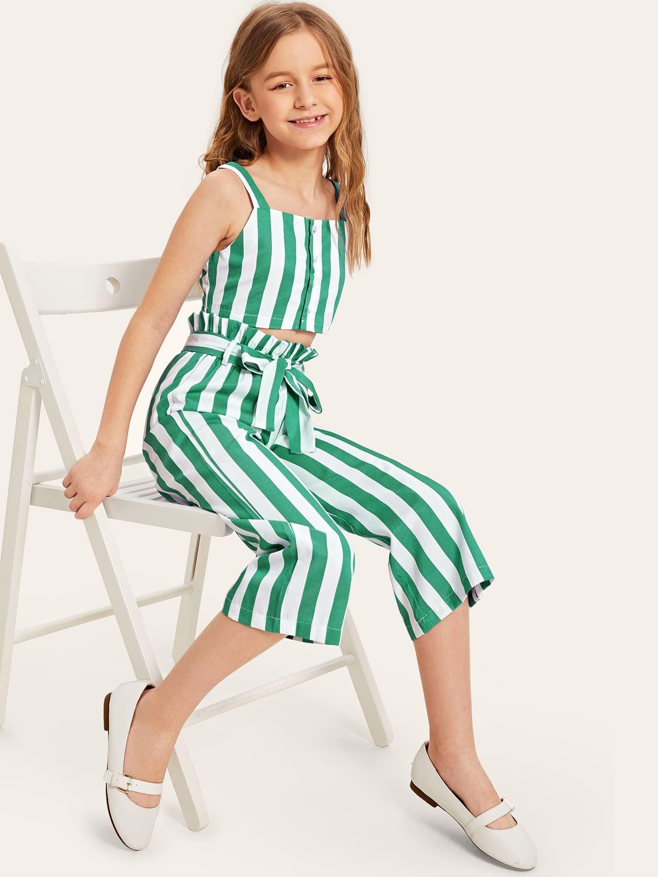 Girls Button Up Crop Top And Paperbag Waist Pants Set Kids Summer Dresses Dresses Kids Girl Kids Summer Fashion [ 1785 x 1340 Pixel ]