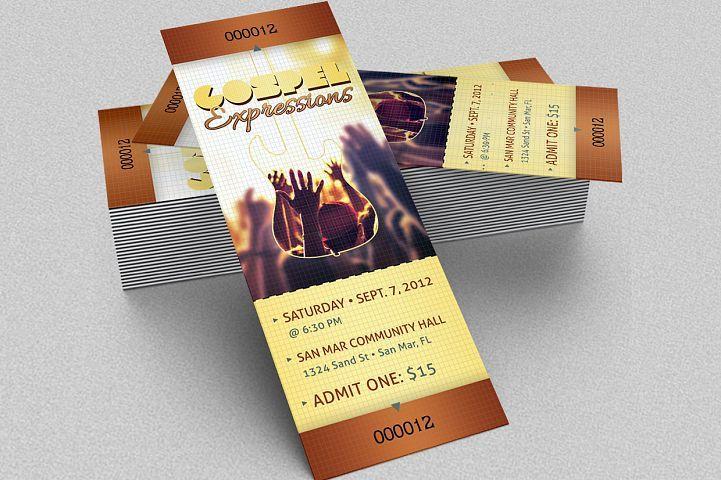 Gospel Concert Ticket Template from DesignBundlesnet Design and - concert tickets template