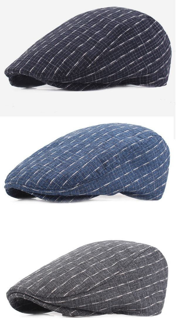 f34509b4ef277 Men Cotton Stripe Plaid Grid Beret Hat Buckle Adjustable Golf Driving Flat  Cabbie Newsboy Beret Cap