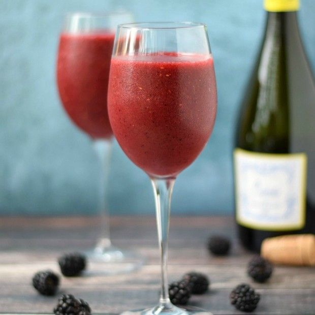 Wine smoothie. Only 2 ingredients. Sweet white wine, & bag of frozen berries.