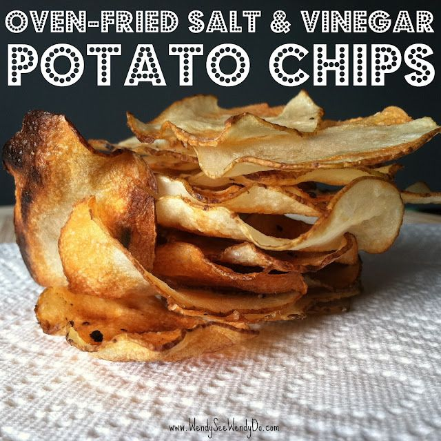OVEN-FRIED SALT & VINEGAR POTATO CHIPS  Adapted from Martha Stewart & Simply Recipes      Ingredients        3 large russet potatoes, sliced 1/32 inch thick using a mandolin      2 1/2 cups white vinegar      non-stick cooking spray      kosher salt      cracked black pepper