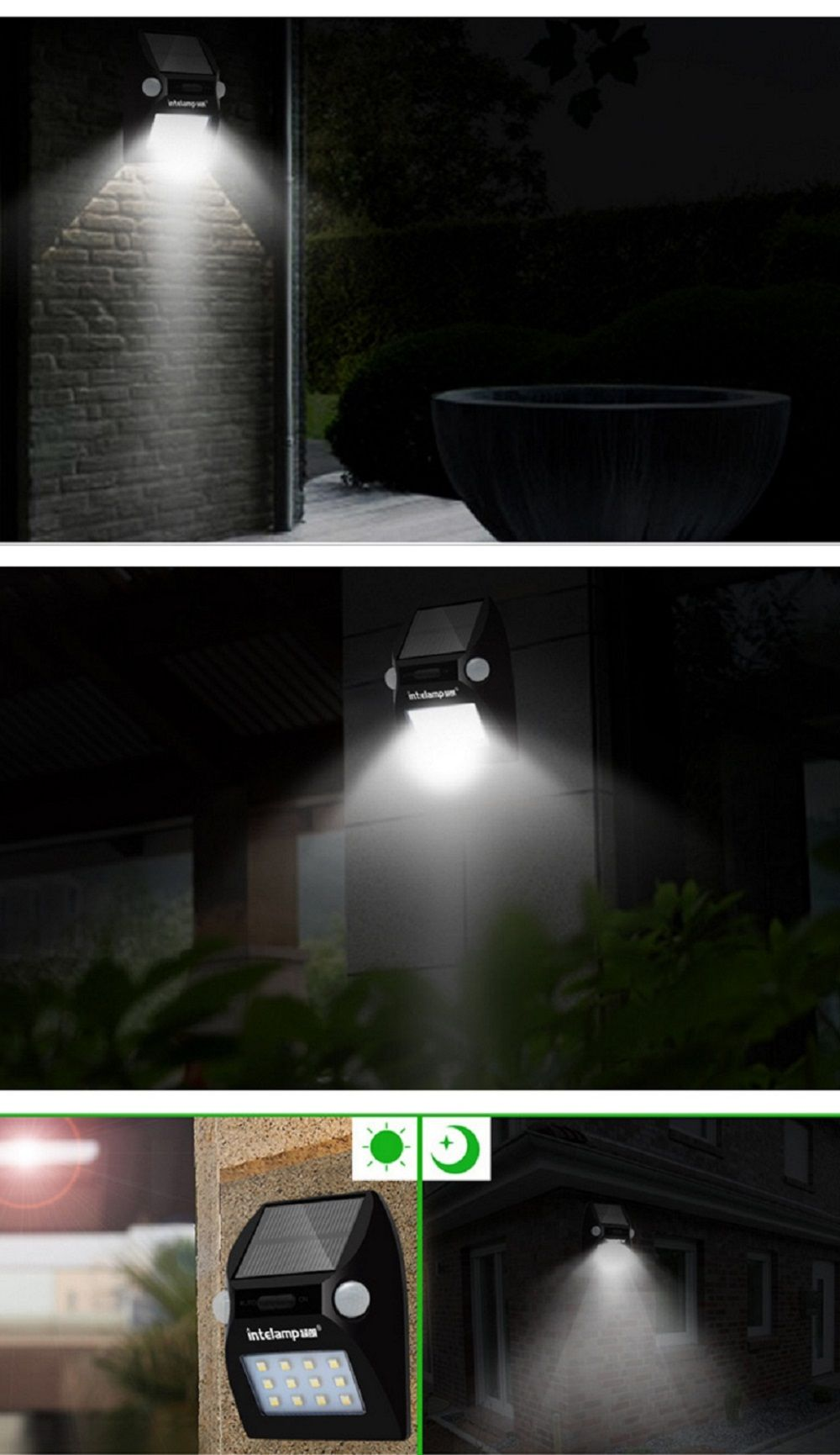 Intelamp yl solar powered motion sensor dual head spotlight