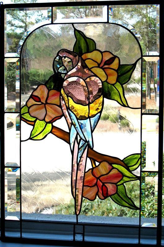 Parrot And Hibiscus Cobalt Cat Glass Designs Beautiful Bevels