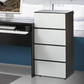 """Found it at AllModern - Allure 36"""" Storage Cabinet in White and Ebony with 3 Drawers"""