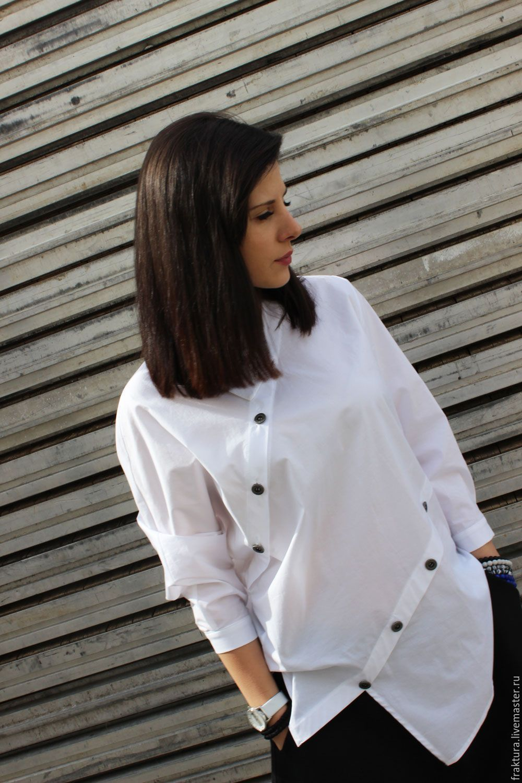 1a239b3a841 Купить Асимметричная рубашка B0002 - белый
