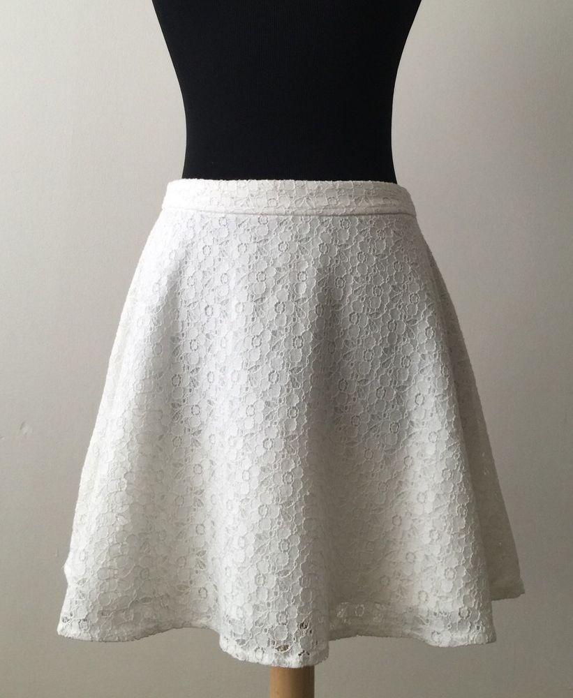 L'amour Nanette Lepore White Lace Skater Skirt Size S Small #NanetteLepore #Skater