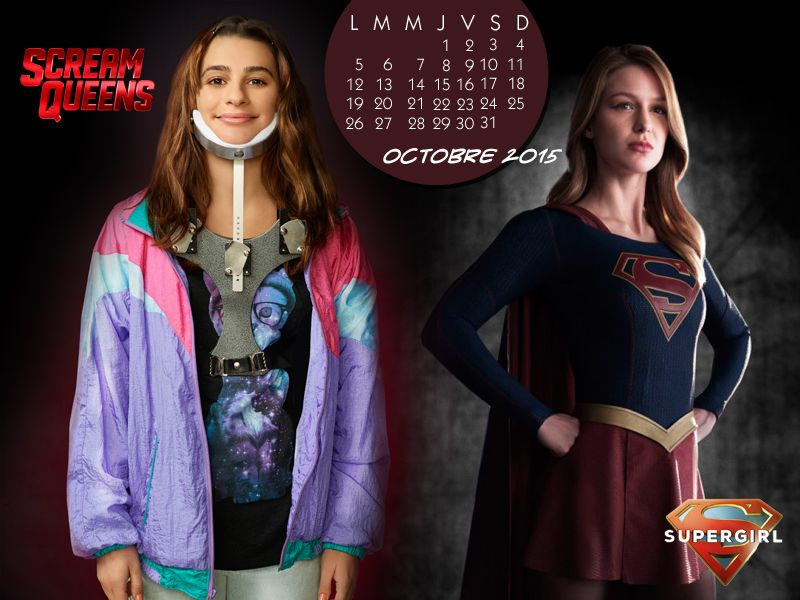 Calendrier Octobre 2015 #Glee #ScreamQueens #Supergirl #LeaMichele #MelissaBenoist http://glee.hypnoweb.net/quartier/creations/calendriers.156.2445/